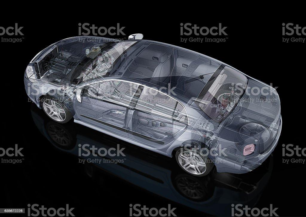 Generic sedan car detailed cutaway representation – Foto