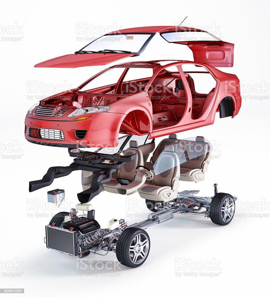 Generic sedan car, technical exploded illustration stock photo