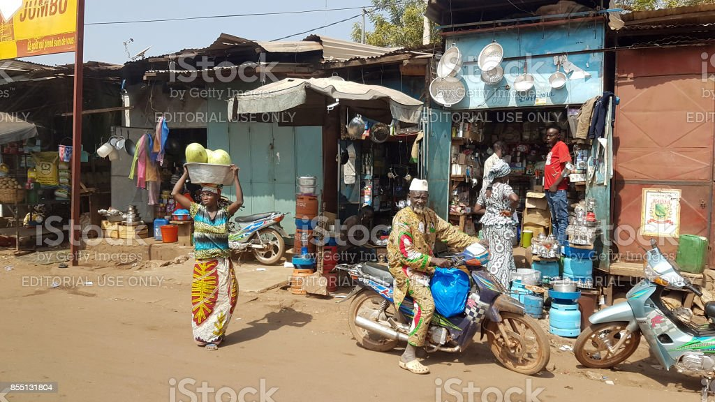 Generic shopping street of the Bamako with people stock photo