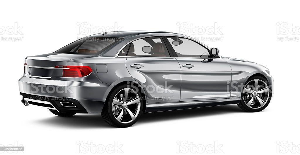 Generic silver car - rear view stock photo