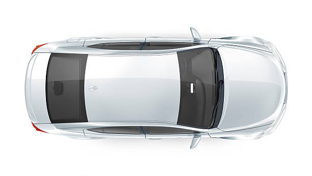 Generic silver car - top view isolated generic silver car on white background vehicle hood stock pictures, royalty-free photos & images