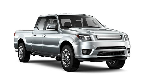 Generic silver pickup truck Generic silver car on white background generic description stock pictures, royalty-free photos & images