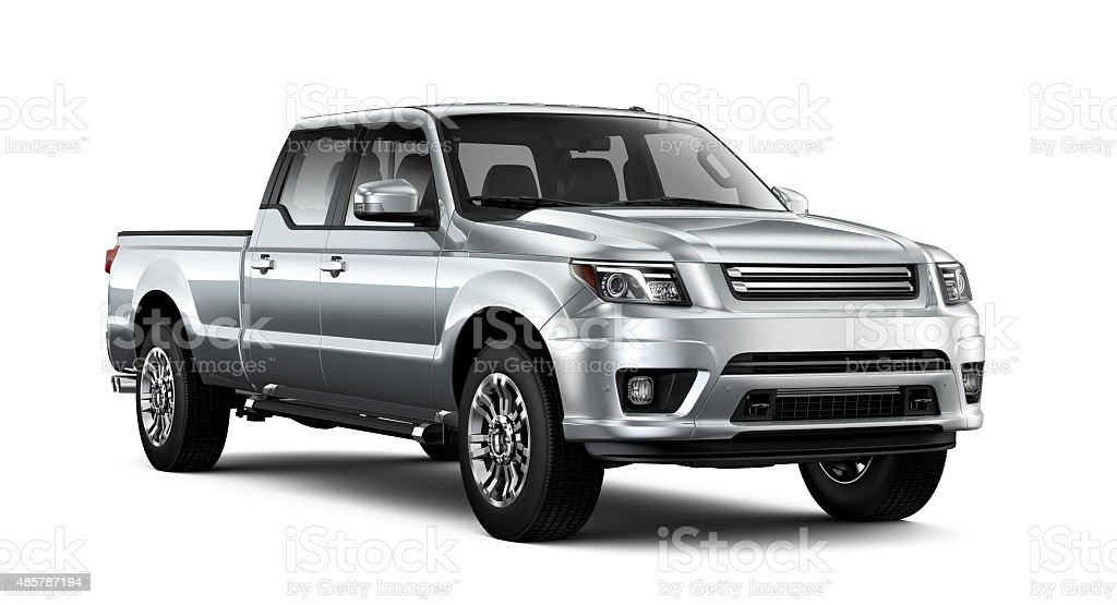 Generic silver pickup truck stock photo