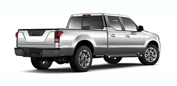 generic silver pickup truck - rear angle - pikap stok fotoğraflar ve resimler