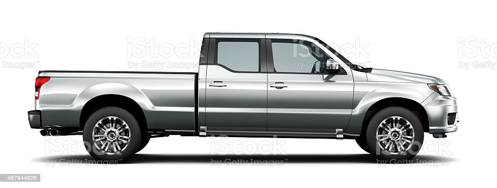 Generic silver pickup truck - side view stock photo