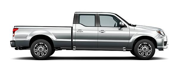 generic silver pickup truck - side view - pikap stok fotoğraflar ve resimler