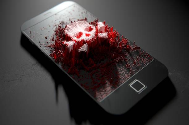 Pantalla del teléfono inteligente genérico que emanan pequeñas píxeles al azar que forman una calavera y huesos - foto de stock
