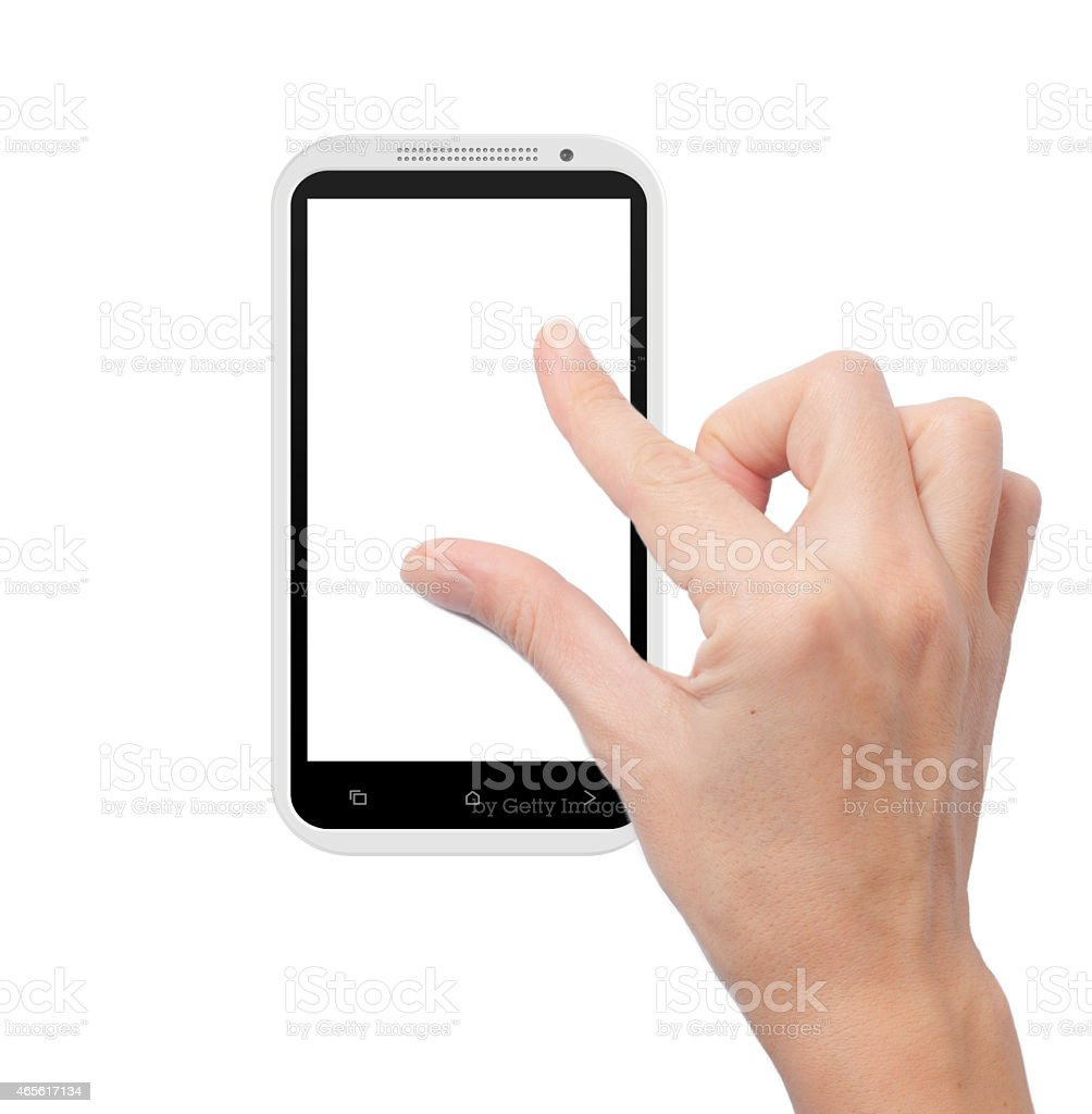 generic smart phone with gesture finger stock photo