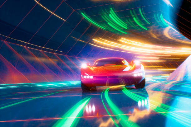 Generic sports car speeding on the road stock photo