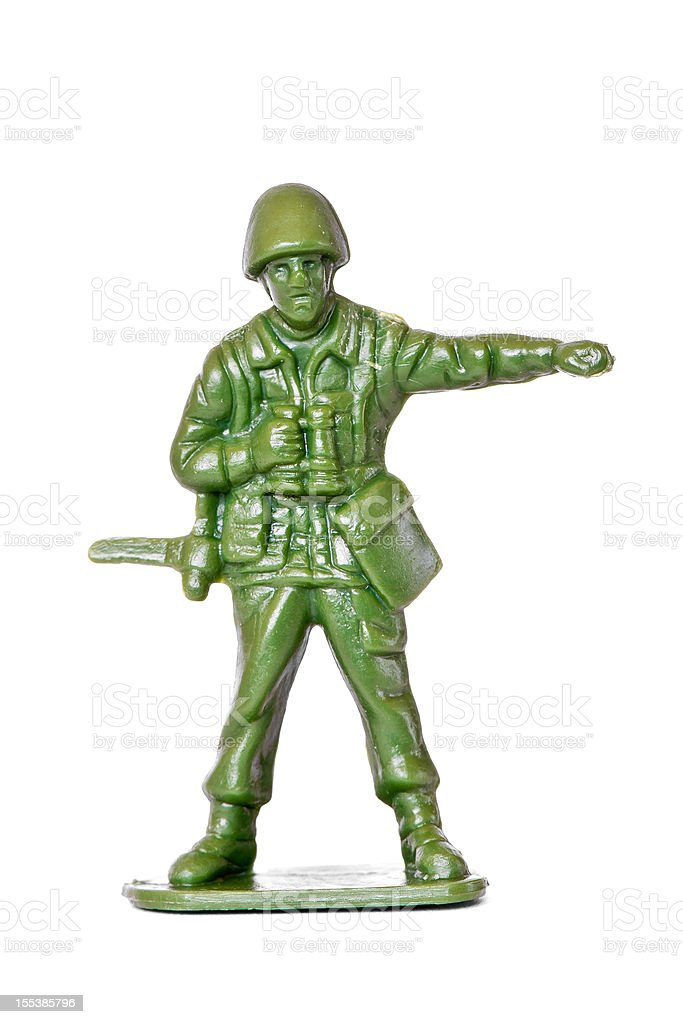Generic toy soldier isolated on white stock photo
