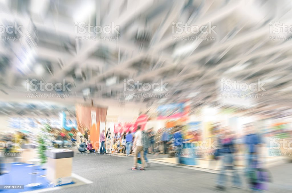 Generic trade show stand with blurred zoom defocusing stock photo