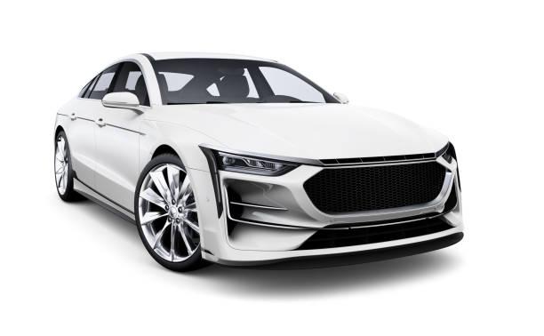 Generic white car isolated on white background stock photo