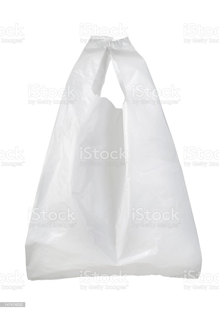 Generic white plastic bag on a white background stock photo