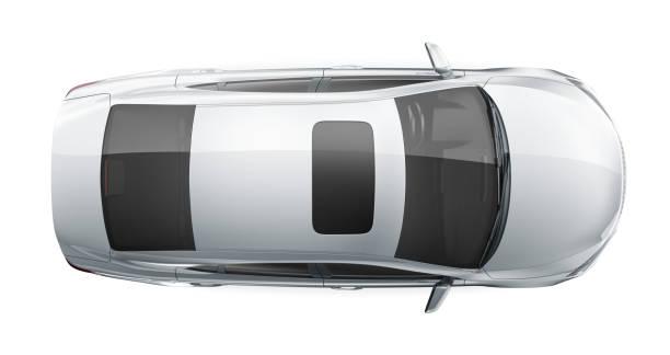 Generic white sedan car- top view stock photo