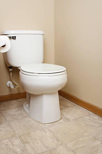 Generic white toilet in bathroom stock photo