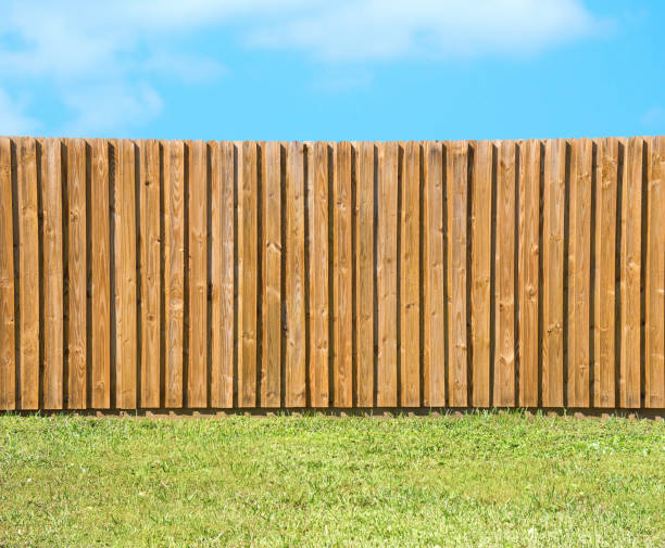 generic wooden residential privacy fence with green grass yard - fence stock photos and pictures