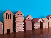 Generic wooden toy blocks symbolizing medieval town