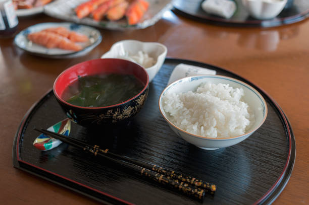 Generous Rice bowl with Japanese seaweed miso soup for the breakfast stock photo
