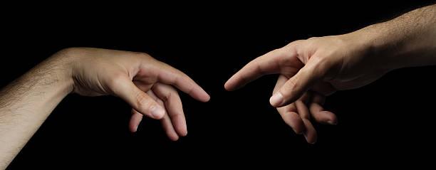 genesis - two hands touching like god and adam - adam hand god bildbanksfoton och bilder