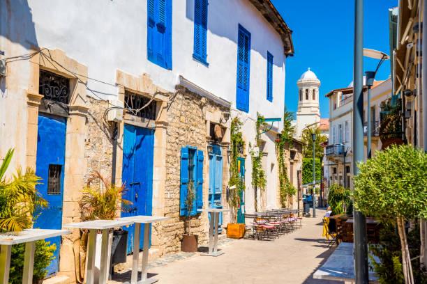 genethliou mitellla street, a touristic street leading to ayia napa cathedral. limassol, cyprus - cyprus стоковые фото и изображения