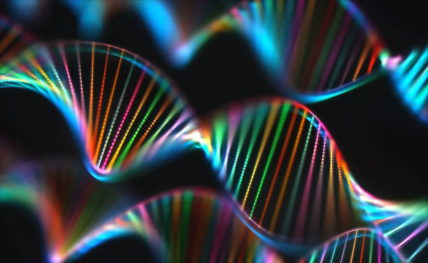 DNA Genetic Code Colorful Genome Image of genetic codes DNA. Concept image for use as background. Colored 3D illustration. helix model stock pictures, royalty-free photos & images