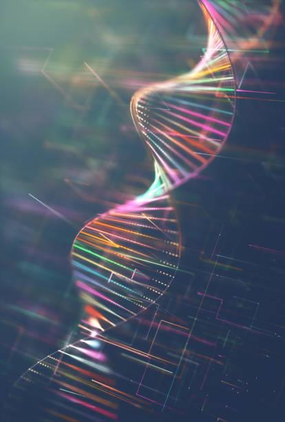 dna genetic code colorful - mutazione genetica foto e immagini stock