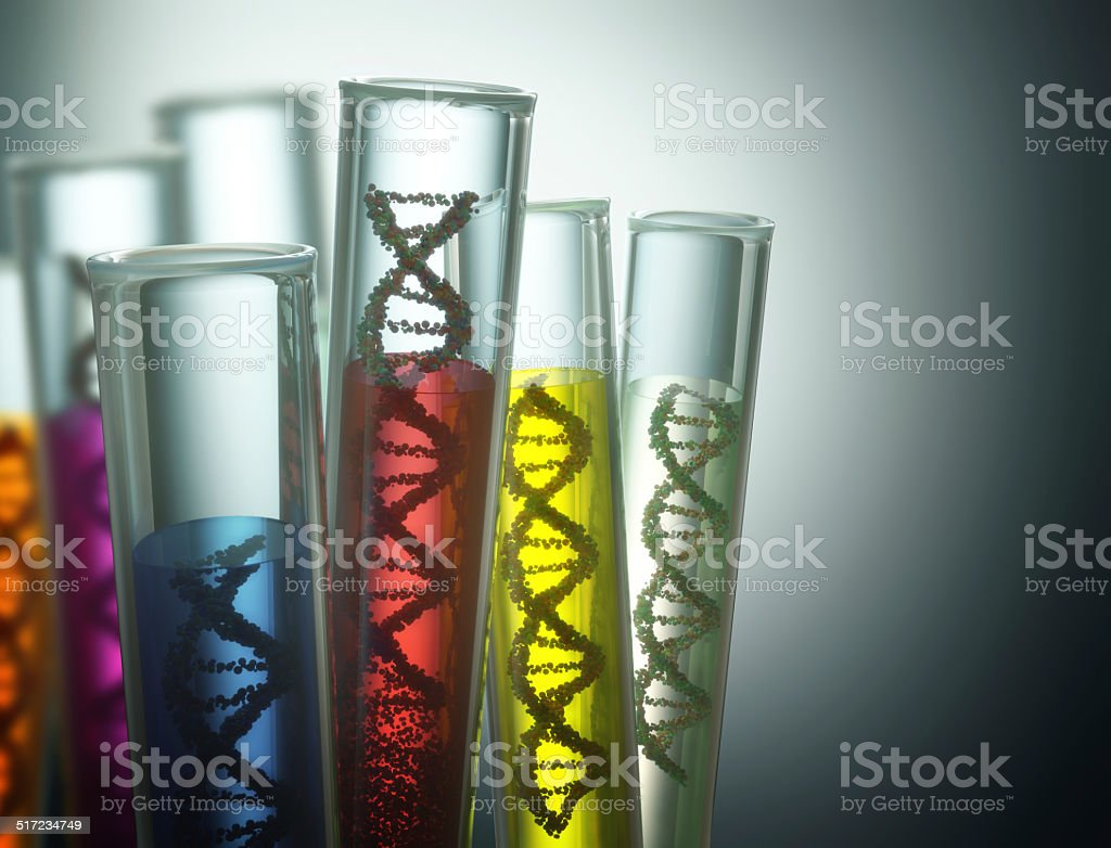 Genetic Code Manipulation Test tube with dna inside. Concept of manipulation of the genetic code. Clipping path included. Biology Stock Photo