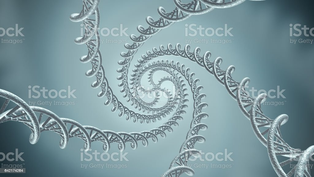 Genetic DNA chain strands 3D rendering stock photo