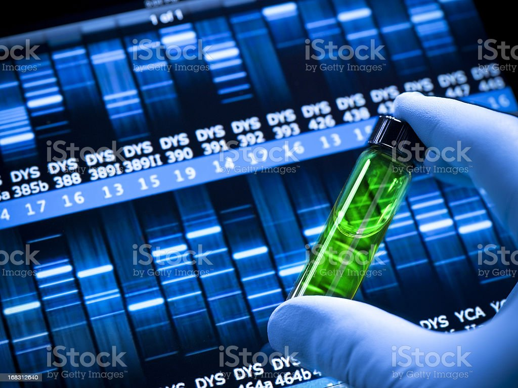 Genetic DNA research at the laboratory stock photo