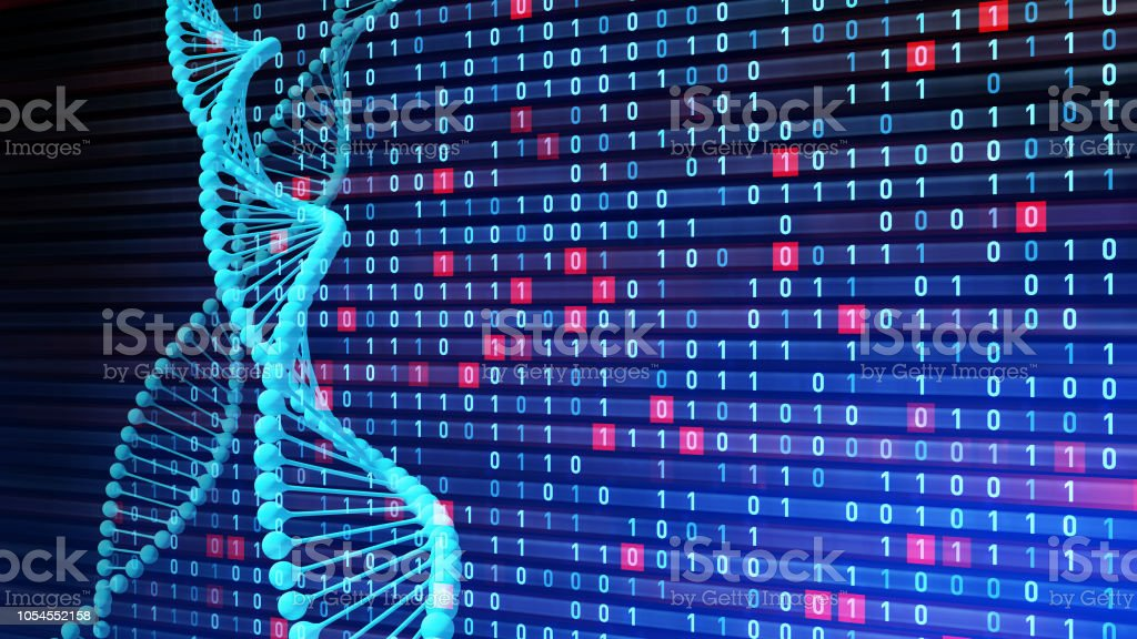Genetic engineering and digital technology concept. stock photo