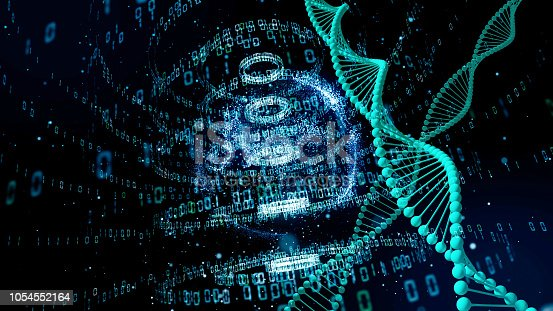 istock Genetic engineering and digital technology concept. 1054552164