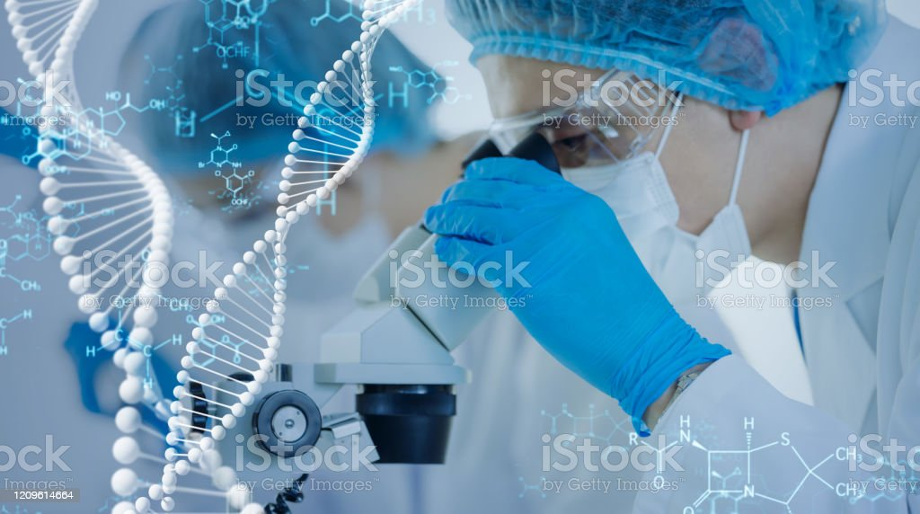 Genetic engineering concept. Medical science. Scientific Laboratory. - Royalty-free Adult Stock Photo