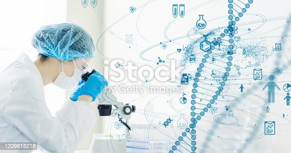 966874060istockphoto Genetic engineering concept. Medical science. Scientific Laboratory. 1209615218
