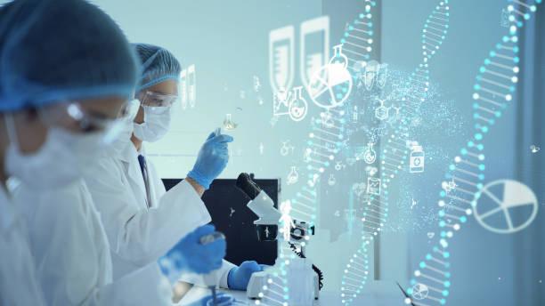 concepto de ingeniería genética. ciencias médicas. laboratorio científico. - adn fotografías e imágenes de stock