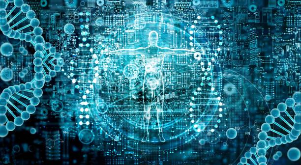 investigación genética y la biotecnología ciencia concepto. tecnología de biología humana en abstracto fondo digital. - biología fotografías e imágenes de stock