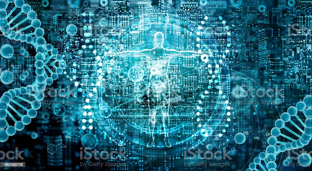 Genetic research and Biotech science Concept. Human Biology technology on abstract digital background. stock photo