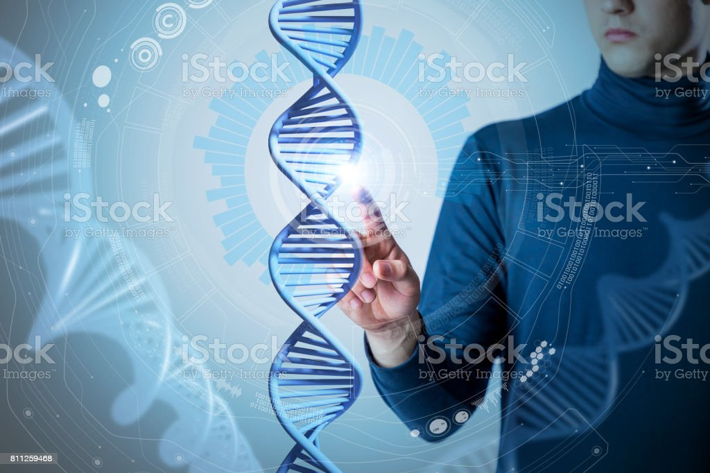 genetic technology concept, gene engineering, 3d rendering, abstract image visual stock photo