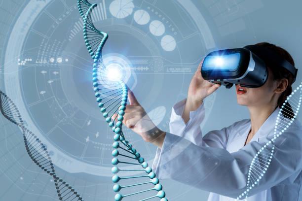 genetic technology concept, gene engineering, 3d rendering, abstract image visual - medical technology стоковые фото и изображения