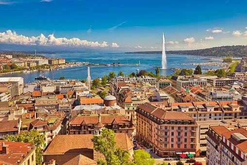 Geneva aerial view Switzerland