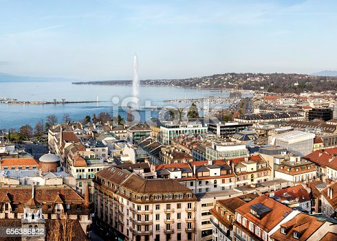 Aerial view of Geneva, Lake Geneva with famous fountain Jet d´Eau are seen in the background, Switzerland, 60 megapixel image, horizontally stitched composition.