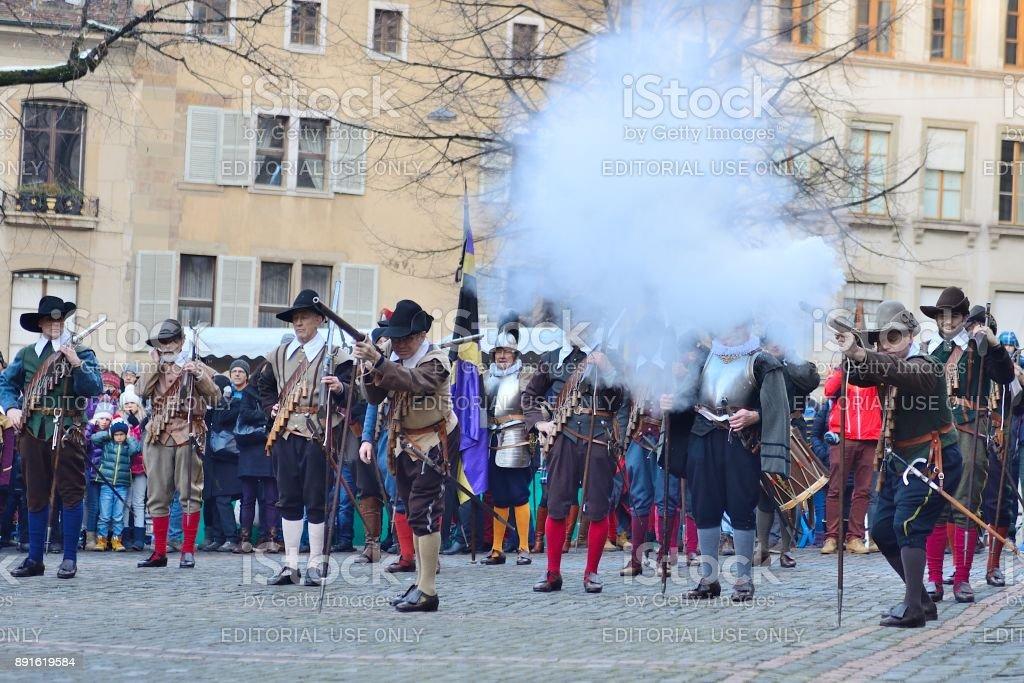Genf City Festival-Musketiere schießen für show – Foto
