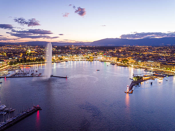 geneva cityscape from aerial view - lake geneva stock photos and pictures