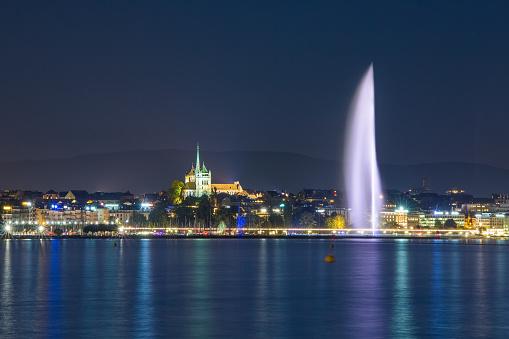 Geneva fountain at night