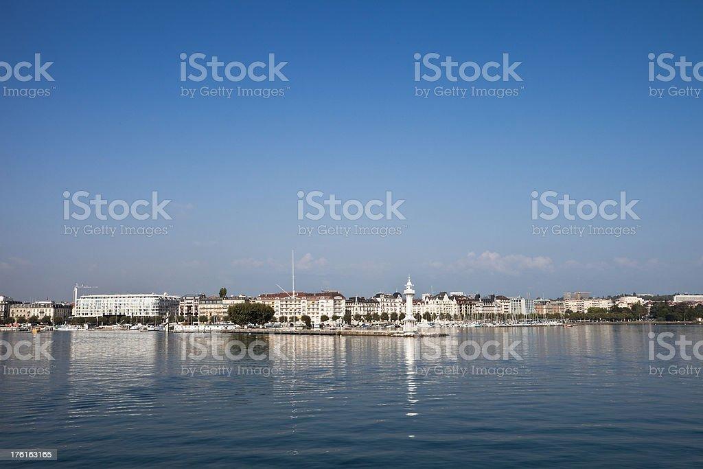 Geneva from Lac Leman stock photo