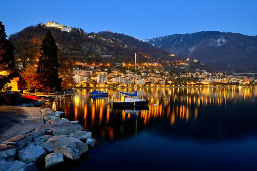 Geneva Lake at dusk in Montreux