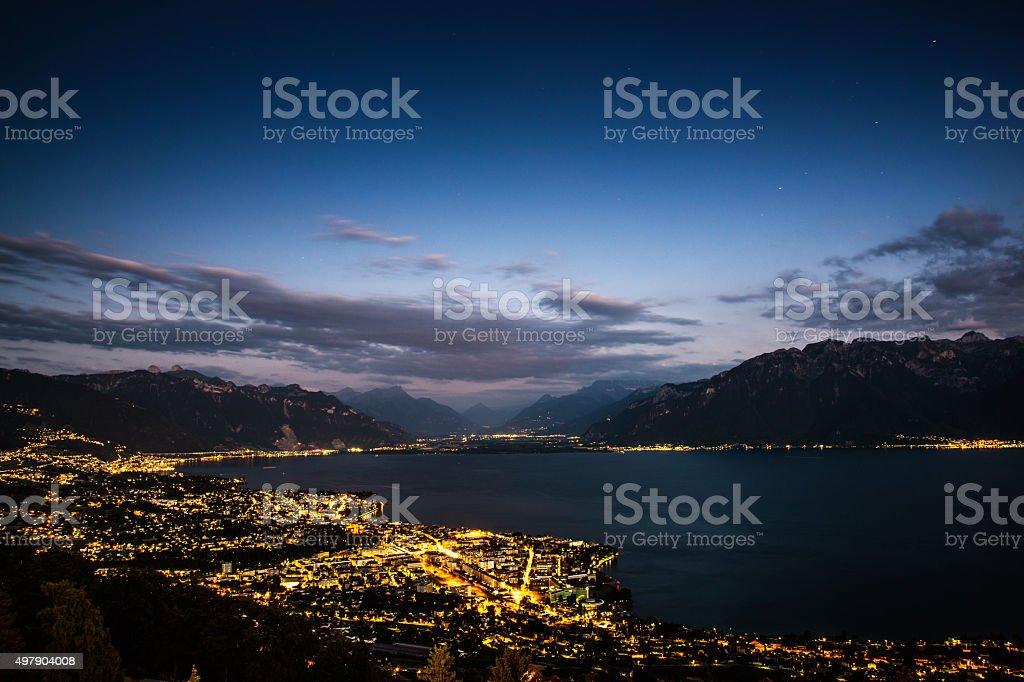 Geneva Lake at night stock photo