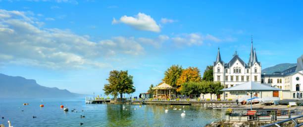 Lago de Ginebra en Vevey. Cantón de Vaud, Suiza - foto de stock