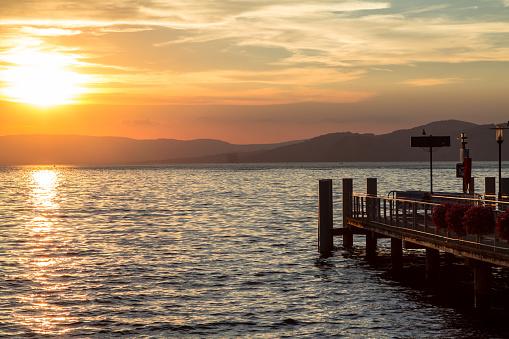 Geneva lake sunset in Switzerland