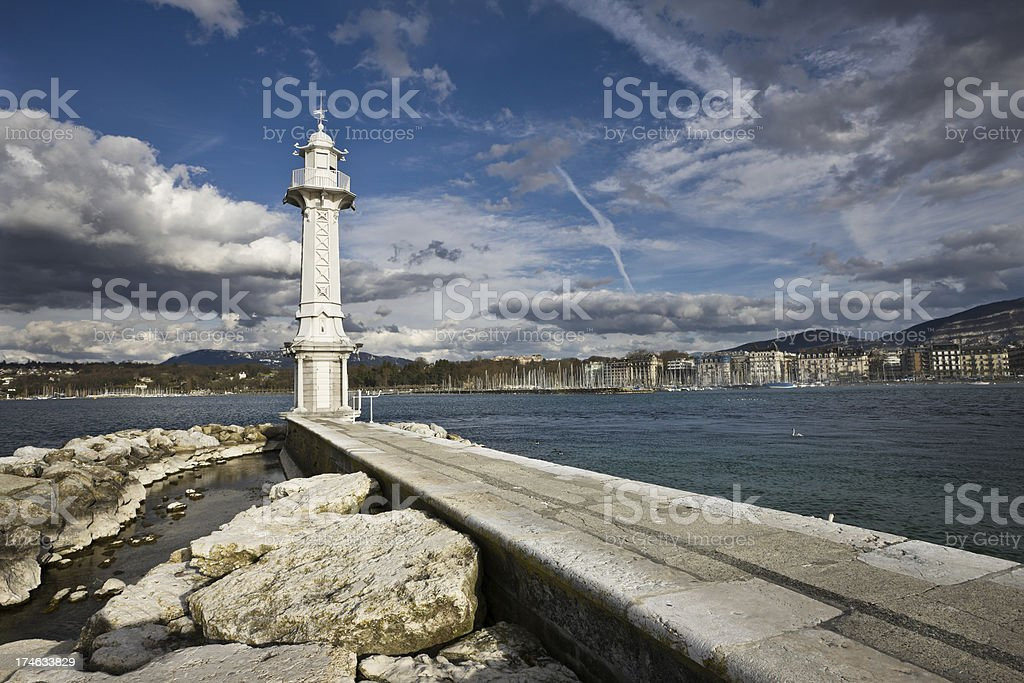 Geneva Landmark Lighthouse stock photo