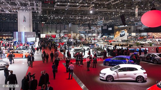 Geneva, Switzerland - March 1, 2016: People visiting the 86th International Geneva Motor Show in Palexpo, Geneva.
